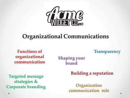 Organizational Communications Functions of organizational communication Transparency Targeted message strategies & Corporate branding Shaping your brand.