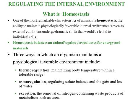 REGULATING THE INTERNAL ENVIRONMENT What is Homeostasis One of the most remarkable characteristics of animals is homeostasis, the ability to maintain physiologically.