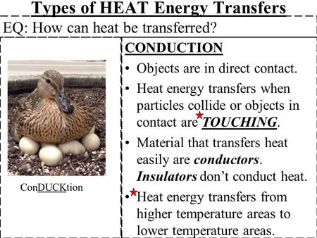 Types of HEAT Energy Transfers CONDUCTION Objects are in direct contact. Heat energy transfers when particles collide or objects in contact are TOUCHING.