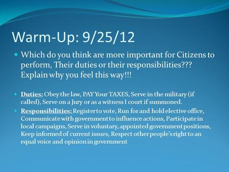 Warm-Up: 9/25/12 Which do you think are more important for Citizens to perform, Their duties or their responsibilities??? Explain why you feel this way!!!