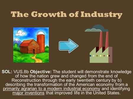 The Growth of Industry SOL: VUS.8b Objective: The student will demonstrate knowledge of how the nation grew and changed from the end of Reconstruction.