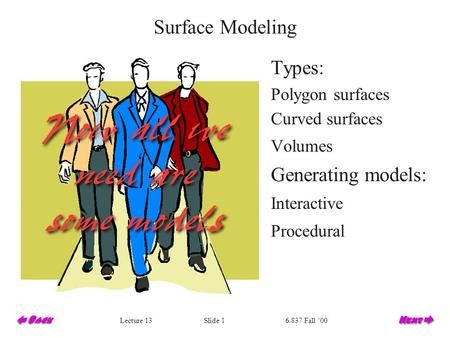 Slide 1Lecture 136.837 Fall '00 Surface Modeling Types: Polygon surfaces Curved surfaces Volumes Generating models: Interactive Procedural.