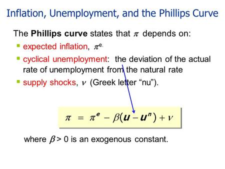 Inflation, Unemployment, and the Phillips Curve The Phillips curve states that  depends on:  expected inflation,  e.  cyclical unemployment: the deviation.