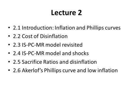 Lecture Introduction: Inflation and Phillips curves