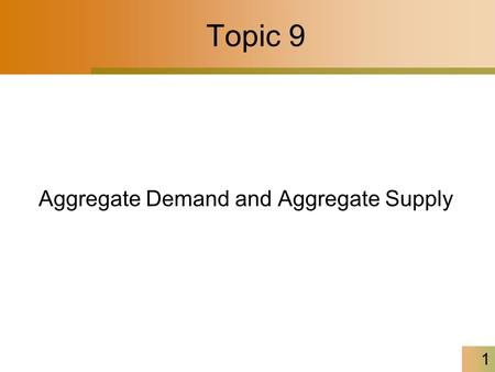 Topic 9 Aggregate Demand and Aggregate Supply 1. 2 The Aggregate Demand Curve When price level rises, money demand curve shifts rightward Consequently,