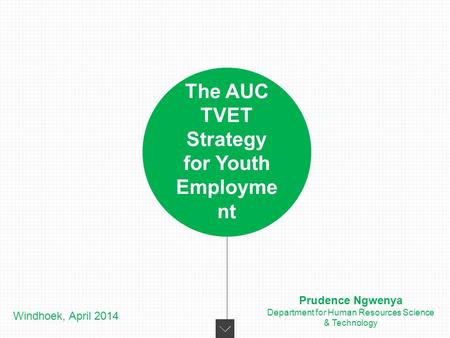 The AUC TVET Strategy for Youth Employme nt Windhoek, April 2014 Prudence Ngwenya Department for Human Resources Science & Technology.