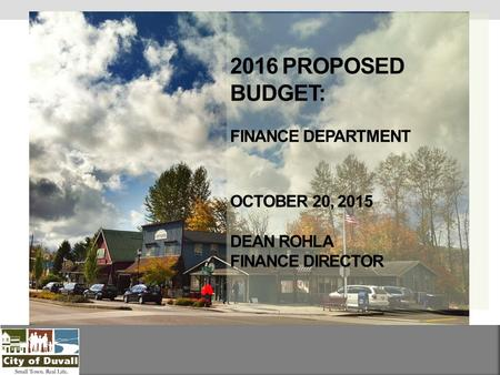 2016 PROPOSED BUDGET: FINANCE DEPARTMENT OCTOBER 20, 2015 DEAN ROHLA FINANCE DIRECTOR.