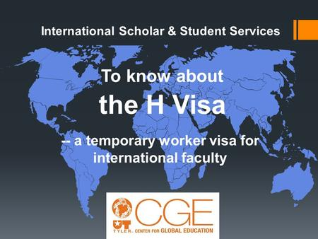 To know about the H Visa -- a temporary worker visa for international faculty International Scholar & Student Services.