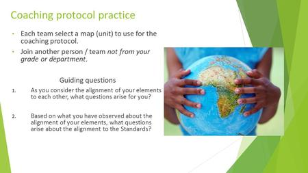 Coaching protocol practice Each team select a map (unit) to use for the coaching protocol. Join another person / team not from your grade or department.