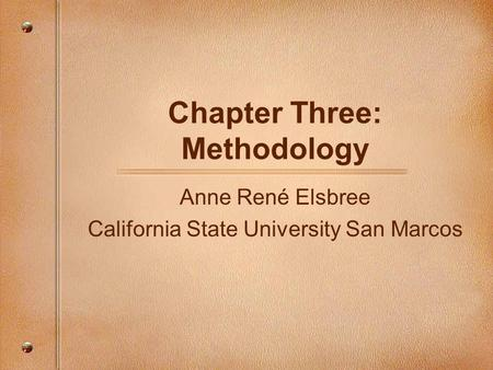 chapter three + thesis methodology