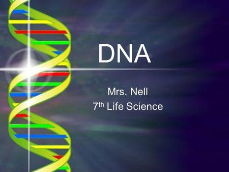 DNA Mrs. Nell 7 th Life Science. The chromosomes in the nucleus of a cell contain a code in the form of a chemical called deoxyribonucleic acid, or DNA.