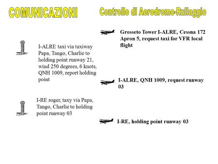 I-RE roger, taxy via Papa, Tango, Charlie to holding point runway 03 I-ALRE, QNH 1009, request runway 03 I-RE, holding point runway 03 Grosseto Tower I-ALRE,
