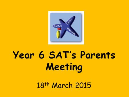 Year 6 SAT's Parents Meeting 18 th March 2015. SATs Week Beginning Monday 11th May During this week pupils in Year 6 in the final stage of KS2 will sit.