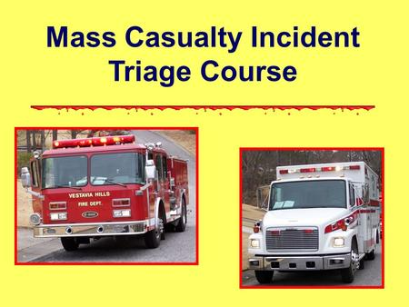 Mass Casualty Incident Triage Course. This course is provided to you by: Alabama Fire College Workplace Safety Training Program www.alabamafirecollegewst.org.