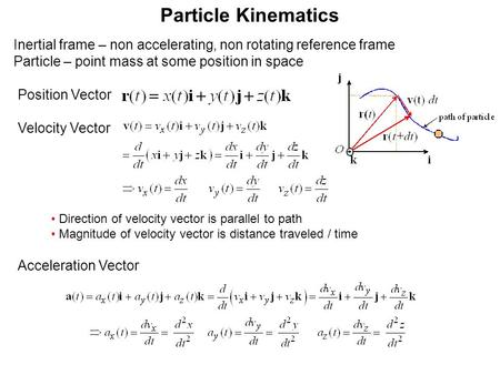 Particle Kinematics Direction of velocity vector is parallel to path Magnitude of velocity vector is distance traveled / time Inertial frame – non accelerating,