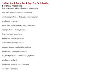 Low dose of prednisone