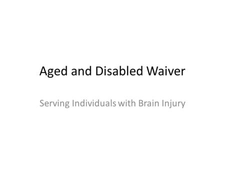 Aged and Disabled Waiver Serving Individuals with Brain Injury.