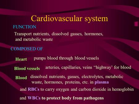 Cardiovascular system FUNCTION Transport nutrients, dissolved gasses, hormones, and metabolic waste COMPOSED OF Heart pumps blood through blood vessels.