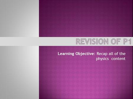 Learning Objective: Recap all of the physics content.