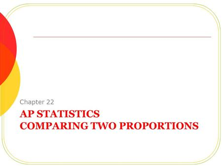 AP STATISTICS COMPARING TWO PROPORTIONS Chapter 22.