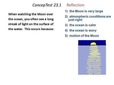 ConcepTest 23.1Reflection When watching the Moon over the ocean, you often see a long streak of light on the surface of the water. This occurs because: