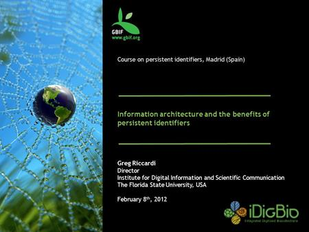 Course on persistent identifiers, Madrid (Spain) Information architecture and the benefits of persistent identifiers Greg Riccardi Director Institute for.