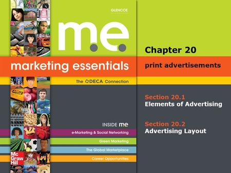 Section 20.1 Elements of Advertising Chapter 20 print advertisements Section 20.2 Advertising Layout.