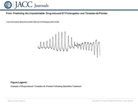 Date of download: 5/29/2016 Copyright © The American College of Cardiology. All rights reserved. From: Predicting the Unpredictable: Drug-Induced QT Prolongation.