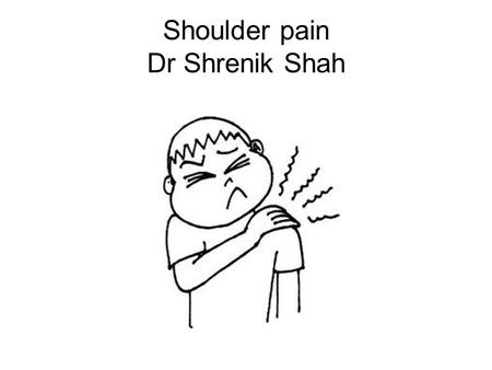 Shoulder pain Dr Shrenik Shah. Overview Anatomy Clinico-patho-radio correlation How to manage day to day shoulder problems? Promising modality - RSWT.