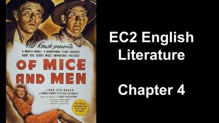 "prejudice and segregation in of mice and men Of mice of men - animals 1 steinbeck's use of animals in ""of mice and men"" symbolism/ foreshadowing/ etcidea quote explanationthe setting in the brush is ""the rabbits hurried noiselessly for the natural world is disrupted by the presence of men."