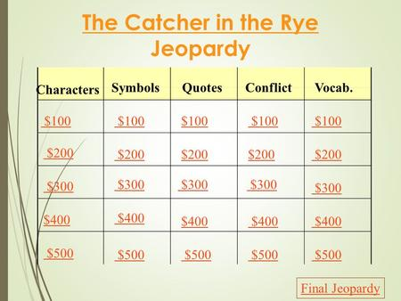 The Catcher in the Rye Jeopardy Characters SymbolsQuotesConflictVocab. $100 $200 $300 $400 $500 $100 $200 $300 $400 $500 Final Jeopardy.