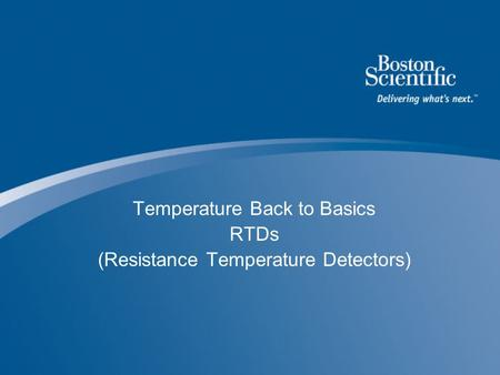 Temperature Back to Basics RTDs (Resistance Temperature Detectors)