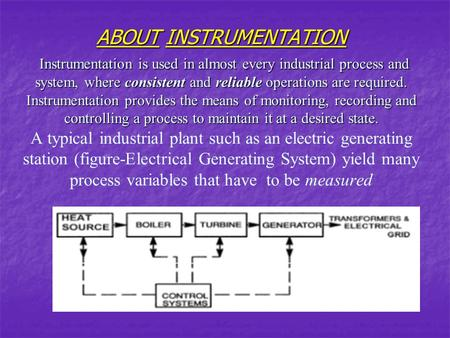 ABOUT INSTRUMENTATION Instrumentation is used in almost every industrial process and system, where consistent and reliable operations are required. Instrumentation.