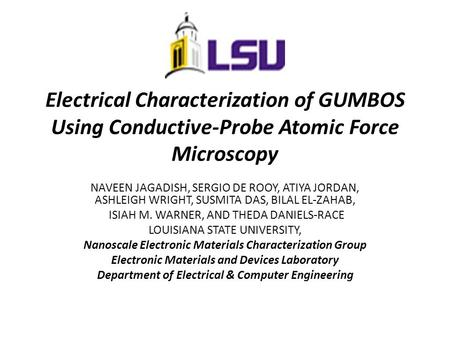 Electrical Characterization of GUMBOS Using Conductive-Probe Atomic Force Microscopy NAVEEN JAGADISH, SERGIO DE ROOY, ATIYA JORDAN, ASHLEIGH WRIGHT, SUSMITA.