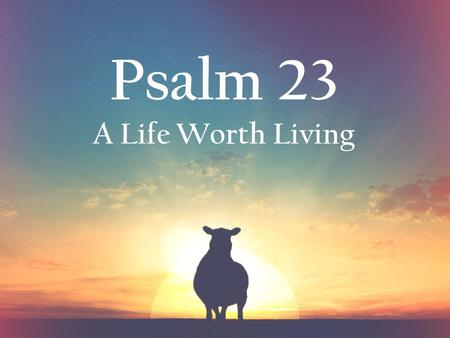 Psalm 23 A Life Worth Living. Extraordinary Abundance.