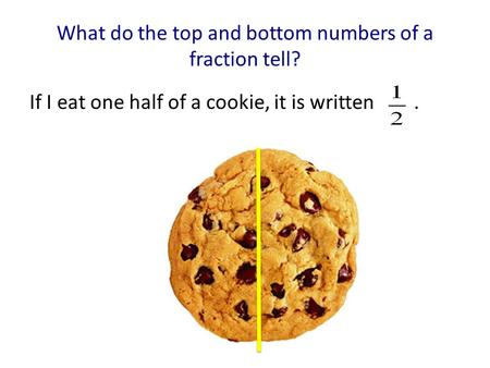 What do the top and bottom numbers of a fraction tell? If I eat one half of a cookie, it is written.