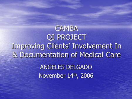 CAMBA QI PROJECT Improving Clients' Involvement In & Documentation of Medical Care ANGELES DELGADO November 14 th, 2006.
