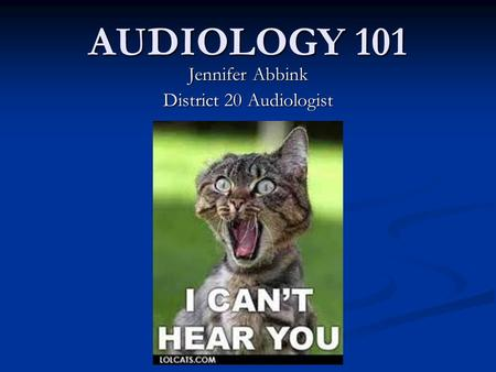 AUDIOLOGY 101 Jennifer Abbink District 20 Audiologist.