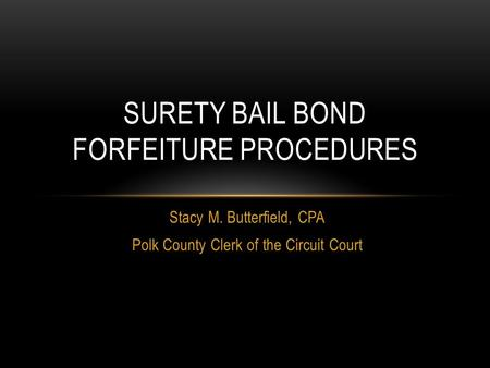 Stacy M. Butterfield, CPA Polk County Clerk of the Circuit Court SURETY BAIL BOND FORFEITURE PROCEDURES.