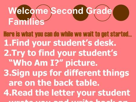 "Welcome Second Grade Families Here is what you can do while we wait to get started… 1.Find your student's desk. 2.Try to find your student's ""Who Am I?"""