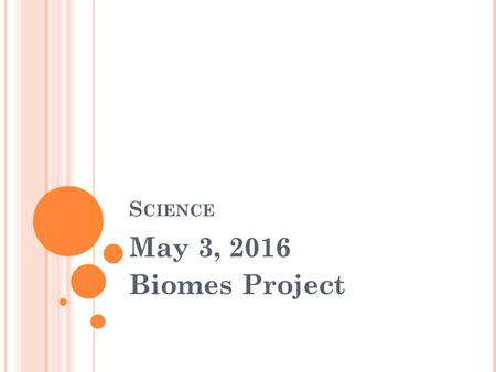 S CIENCE May 3, 2016 Biomes Project. WARM UP Bring your notebook, agenda and pencil to your assigned seat Complete Tuesday's warm up now!! YOU ARE SILENT,