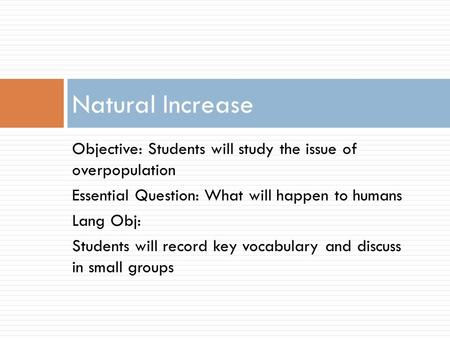 An analysis of the issue of overpopulation
