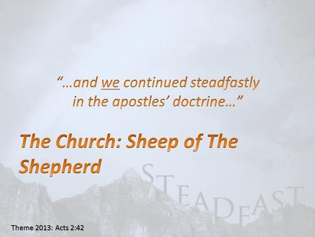 "Theme 2013: Acts 2:42. John 10:11 ""I am the GOOD shepherd. The GOOD shepherd gives His life for the sheep."" ""I am the GOOD shepherd. The GOOD shepherd."