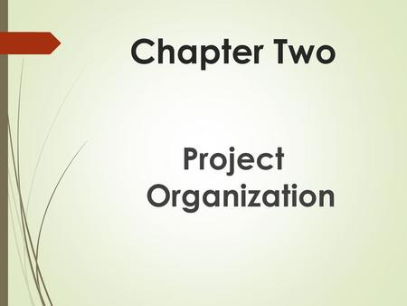 Chapter Two Project Organization. Types of Project Organization  Functional Organization  Pure Project Organization  Matrix Organization.