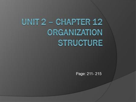 Page: 211- 215. Organizational Structure The internal, formal framework of a business that shows the way in which management is organized and linked together.