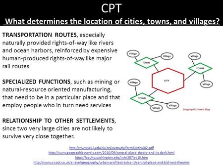 CPT What determines the location of cities, towns, and villages?