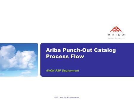 © 2011 Ariba, Inc. All rights reserved. Ariba Punch-Out Catalog Process Flow AVON P2P Deployment.