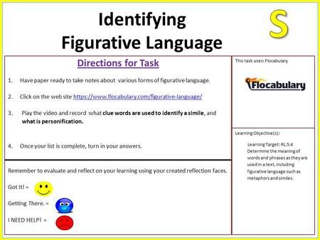 Directions for Task 1.Have paper ready to take notes about various forms of figurative language. 2.Click on the web site https://www.flocabulary.com/figurative-language/https://www.flocabulary.com/figurative-language/