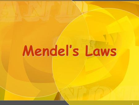 1 Mendel's Laws. 2 Law of Dominance In a cross of parents that are pure for contrasting traits, only one form of the trait will appear in the next generation.