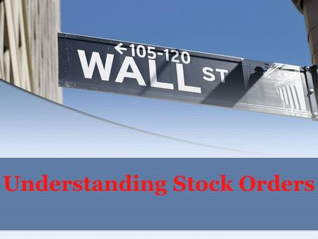 Understanding Stock Orders. Market vs. Limit Orders A market order is an order to buy or sell immediately at the best available price. It does not guarantee.